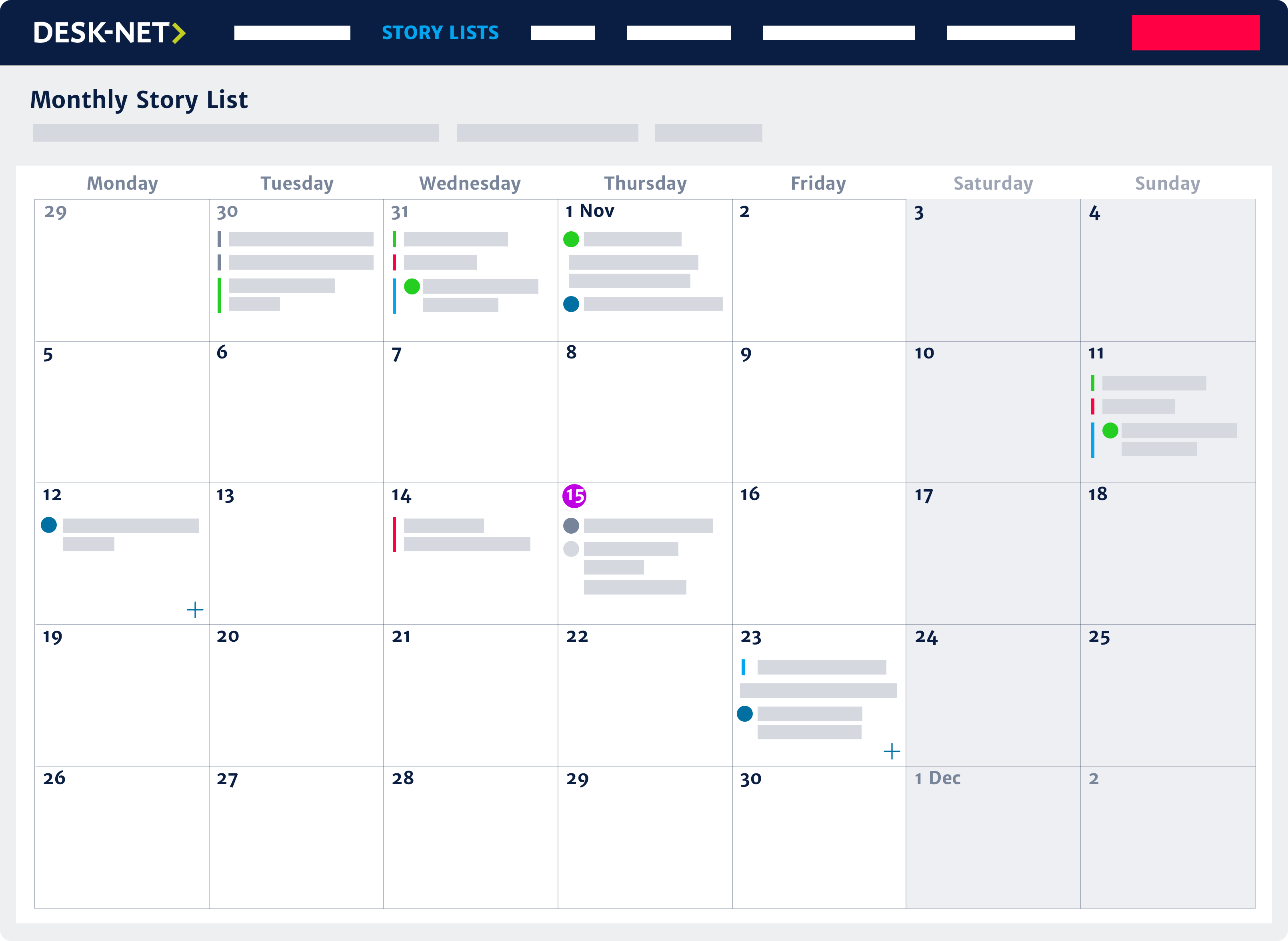 Monthly content calendar view